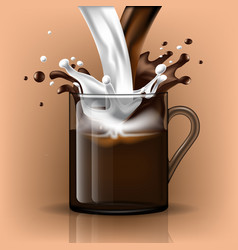 Splash coffee and milk in a glass mug vector