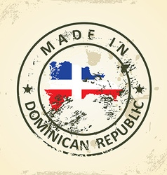 Stamp with map flag of Domican Republic vector image