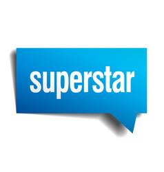 superstar blue 3d realistic paper speech bubble vector image