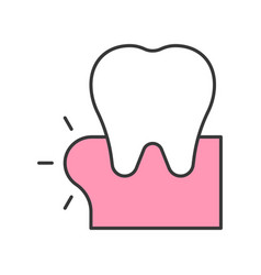 Swollen gums or gingivitis dental related icon vector