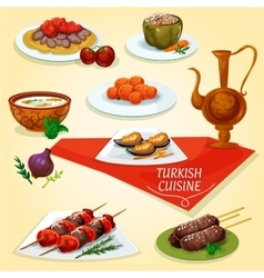 Turkish cuisine kebab meat dishes icon vector