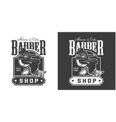 Vintage barbershop badge vector