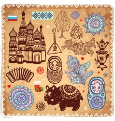 Vintage set of Russian icons vector