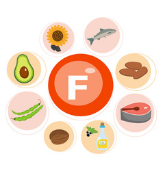 Vitamin f and set vitamin f rich foods vector
