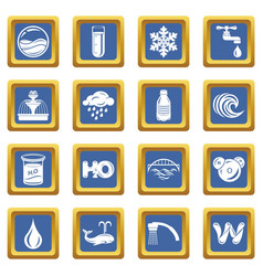 Water icons set blue square vector