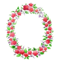 Watercolor flower wreath for greeting card vector