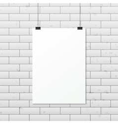 White vertical poster A4 on a rope vector image