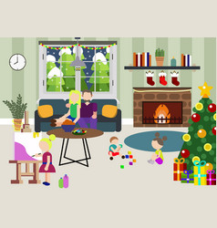 winter family at christmas party night family new vector image