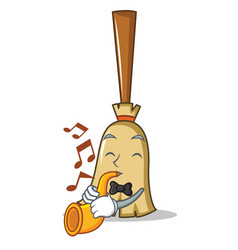 With trumpet broom character cartoon style vector