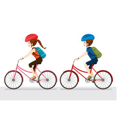 Woman and man riding bicycle vector