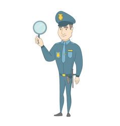 Young caucasian policeman holding a hand mirror vector