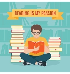 Young man sitting read his favorite book vector image