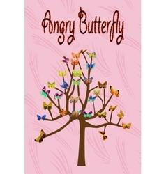 Art tree with butterflies vector image