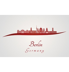 Berlin V2 skyline in red vector image