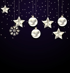 Christmas Dark Background with Silver Balls Stars vector image