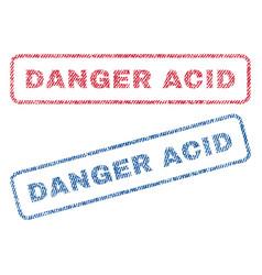 danger acid textile stamps vector image vector image