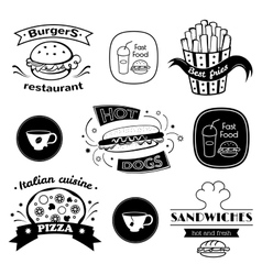 Fast food signs set vector image