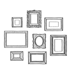 set of vintage photo frames hand drawn vector image