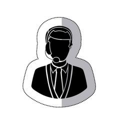 sticker monochrome silhouette man call center vector image