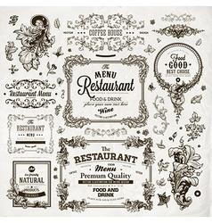 Vintage restaurant label set vector
