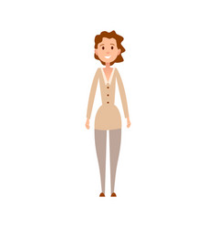 Woman with curly hair and friendly face expression vector
