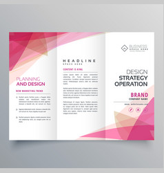 Abstract pink trifold business brochure design vector