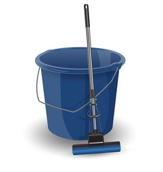 blue bucket with a mop realistic object vector image