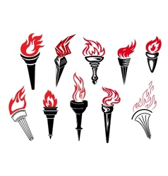 Flaming torch icons vector image
