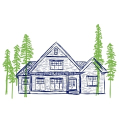 House and trees doodles vector image vector image