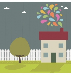landscape and house vector image vector image