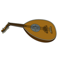 old wooden lute vector image vector image
