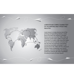 Paper airplanes fly over the world map vector image