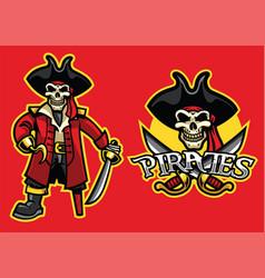 pirate skull mascot in set vector image vector image