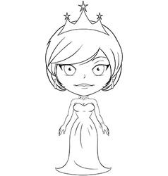 Princess Coloring Page 3 vector image vector image