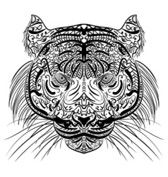 Sketch black and white tiger head Zen-tangle vector image