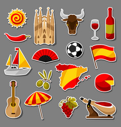 spain sticker icons set spanish traditional vector image vector image