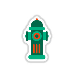 Street fire hydrant in paper sticker style vector