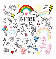 unicorn rainbow magic freehand doodle stickers vector image vector image