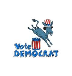 Vote Democrat Donkey Mascot Jumping Over Barrel vector image vector image