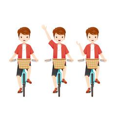 young man riding bicycle set vector image