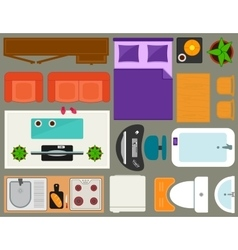 apartment furniture set overhead top view vector image