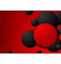 Black and red circles grunge background vector image vector image