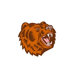 California Grizzly Bear Head Growling Woodcut vector image vector image