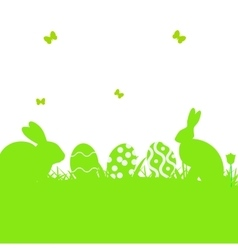 Easter poster with rabbit and grass vector image