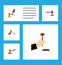 Flat icon court set of crime law hammer and vector