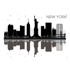 new york city skyline black and white silhouette vector image