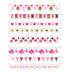 pink colors bounting flags vector image