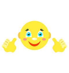 smiley with finger gesture with both hands vector image vector image