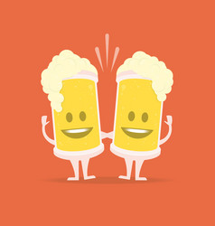 two drunk beer glasses vector image