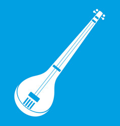 indian guitar icon white vector image
